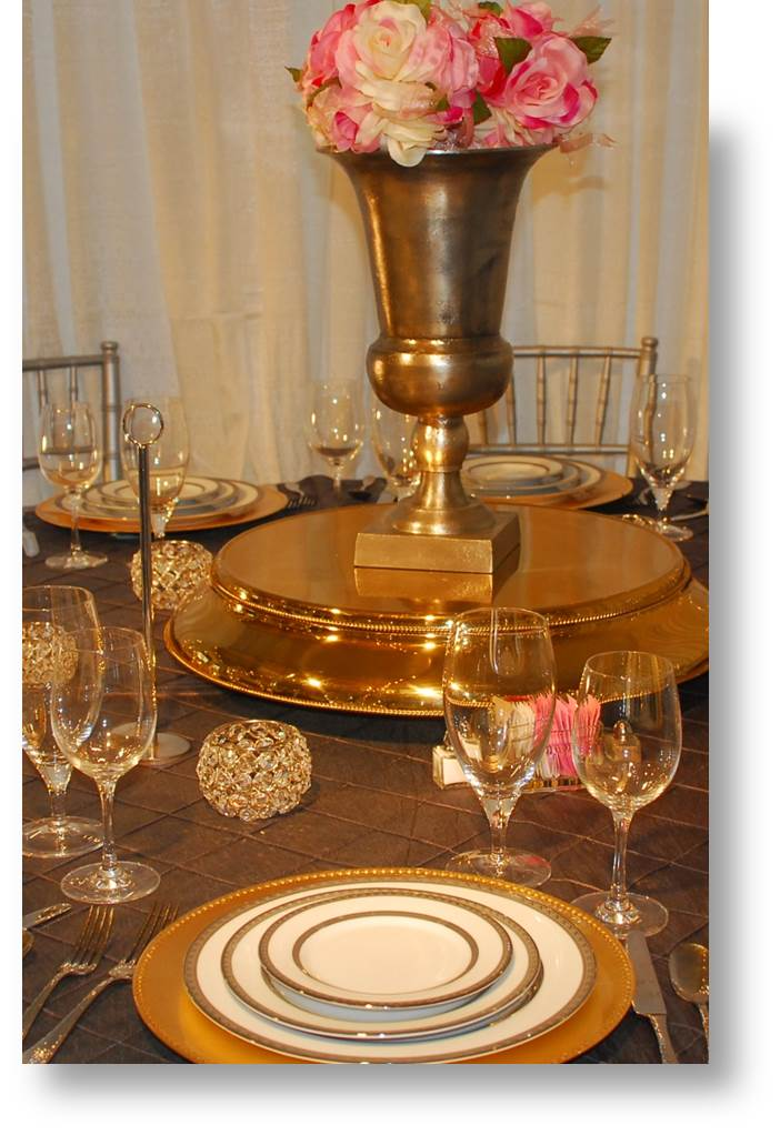 pewter-gold table