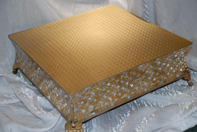 Where to find 18  SQ GOLD MOSAIC CAKE STAND in Murfreesboro
