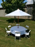 Rental store for WHITE TABLE UMBRELLA  9ft  w  BASE in Murfreesboro TN